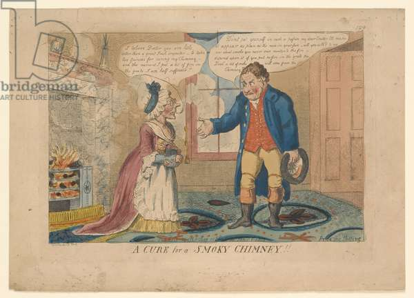 A CURE for a SMOKY CHIMNEY!!, drawn by G. M. Woodward, 1808 (hand-coloured engraving)