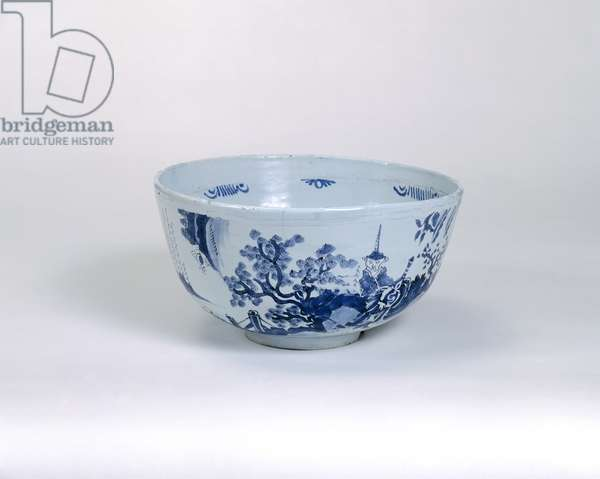 Punch bowl, possibly made in Brislington, c.1675-1700 (tin-glazed earthenware)