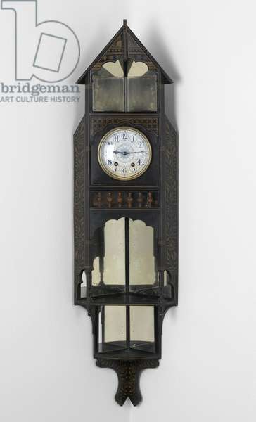 Clock, 1872-83 (ebonised and painted wood with an enamelled metal clock face and brass fixings)