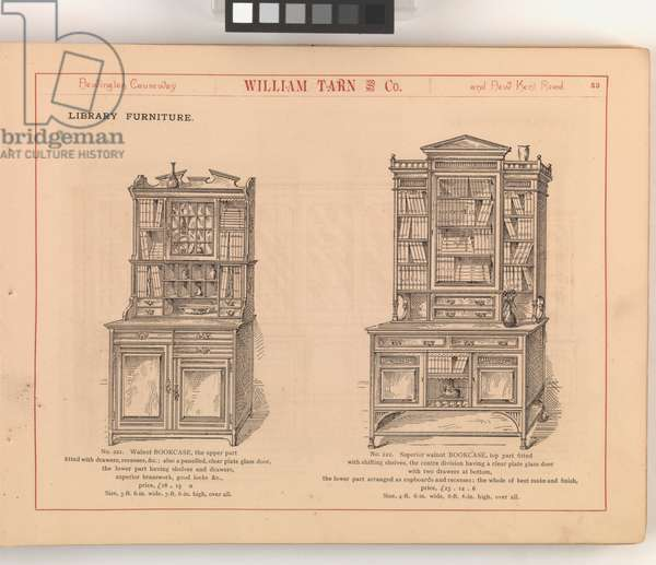 Page from 'William Tarn and Co.'s Illustrated Catalogue: with prices of furniture, bedding, c.1890-1900 (engraving)