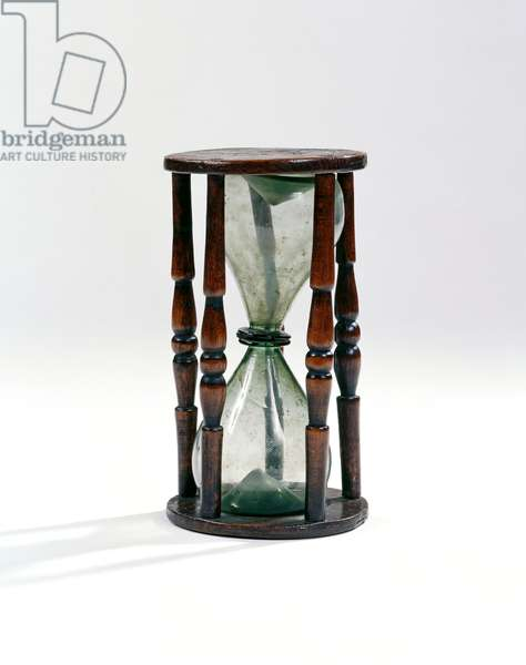 Hourglass, c.1830-1895 (glass & wood)