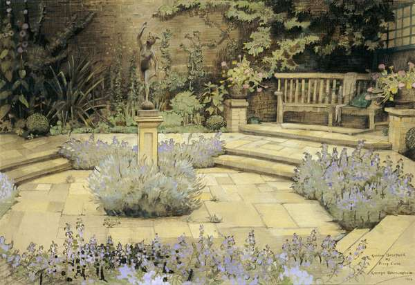 View of a paved garden with beds of lavender designed by Percy Can, 1923 (w/c and pencil on paper)