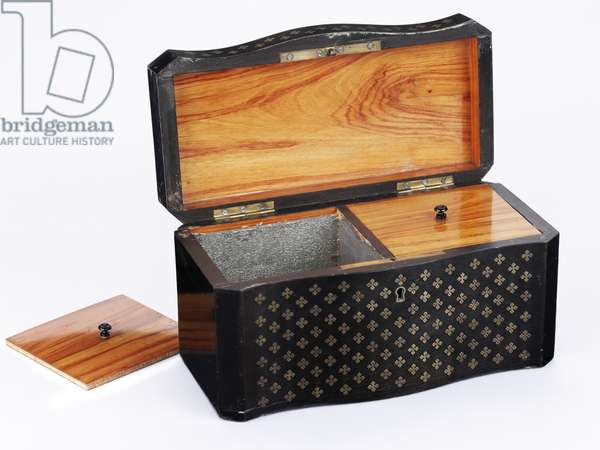 Tea caddy, c.1840 (ebonised pine lined with tulip wood, with bird's eye maple veneers and brass inlays)