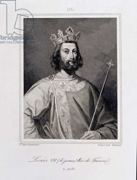 Louis VII the 'Younger' King of France (c.1120-80) engraved by Pannier (engraving)
