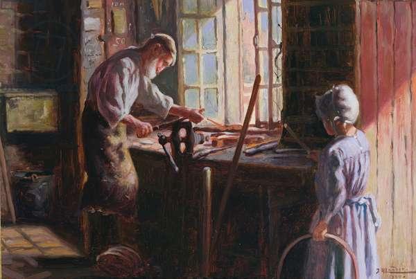 The Blacksmith, 1900 (oil on board)