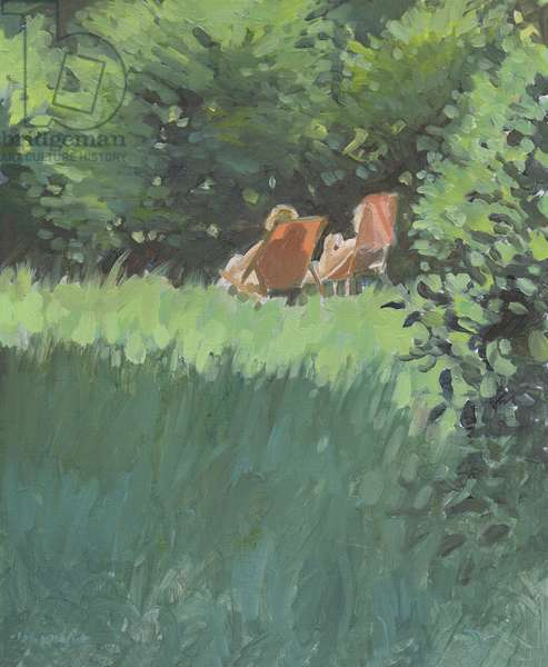Two Ladies Relaxing In Sun (oil on canvas)