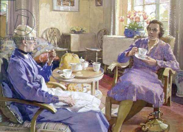 Tea at Chartway New House (Portraits of the artist's wife, Elizabeth and youngest daughter, Ellen) 1940 (gouache on paper)