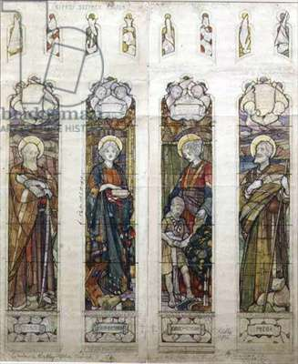 Design for a window in Kirkby Stephen Church, 1903 (pencil & w/c on paper)