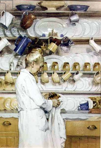 The Dresser (Portrait of the artist's wife, Elizabeth, in their kitchen) 1939 (watercolour on paper)