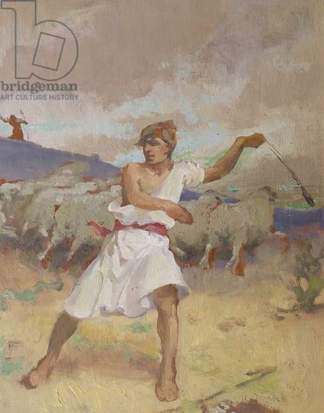 """""""He Keepeth the Sheep"""", study for a bible illustration, 1939 (oil on panel)"""