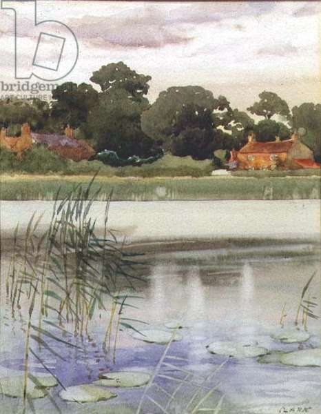 River Scene (believed to be the Thames at Twickenham) c.1928 (w/c on paper)