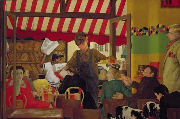 Bar du Marche, Diptych, left hand panel, 2000-01 (oil on canvas)