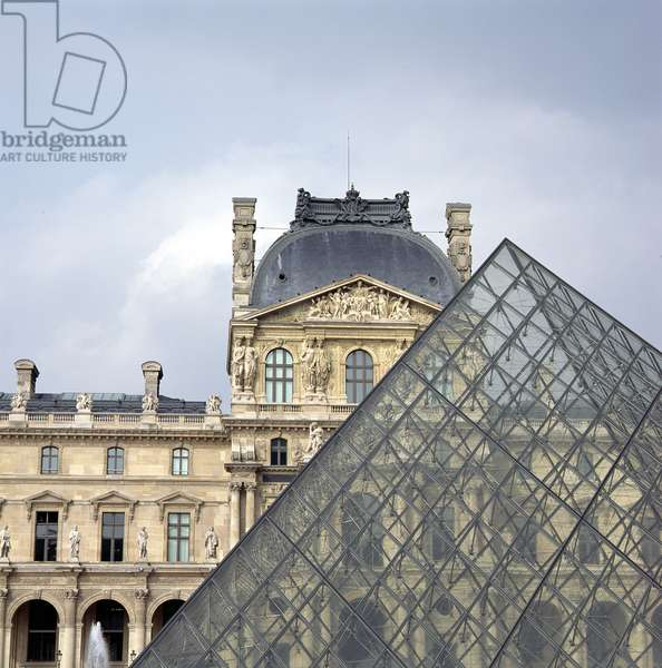 Part of the Pyramid at the Louvre, with the Pavillon Richelieu behind (photo) (see 136166 and 136166 and 136168)