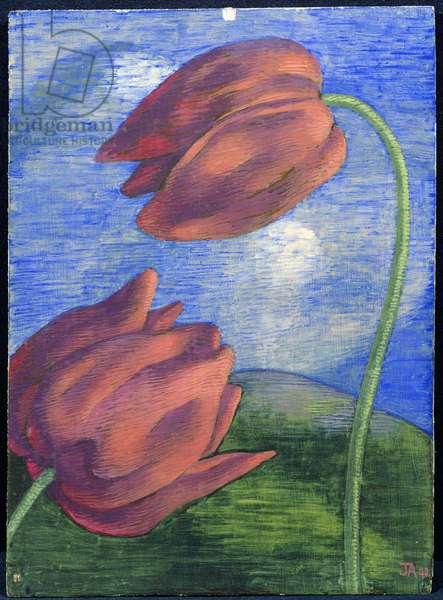 Tulips, 1942 (tempera on board)
