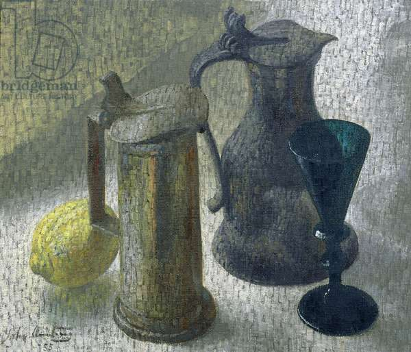 Pewter and Glass, 1955 (oil on canvas)