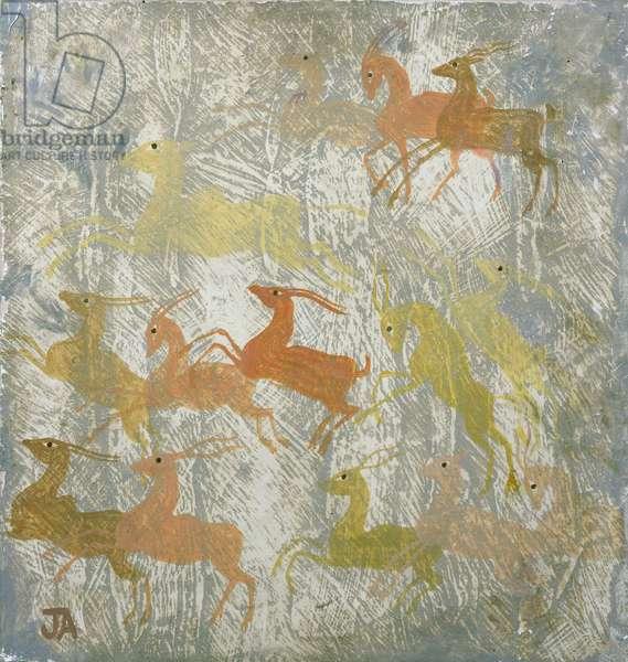Gazelles, c.1937 (tempera on gesso on board)