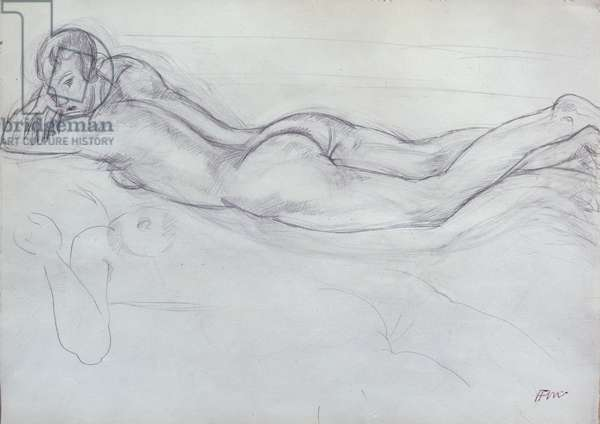 Nude Lying on her Stomach, 1927 (pencil on paper)
