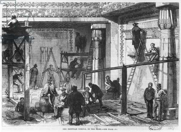 The Construction of the Egyptian Temple at the Universal Exhibition at the Champ-de-Mars in Paris, illustration from 'Illustrated London News', 1867 (engraving) (b/w photo)