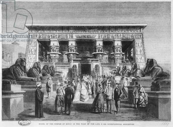 Model of the Temple of Edfu at the Universal Exhibition at the Champ-deMars in Paris, 16th November 1867 (engraving) (b/w photo)