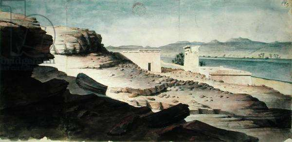 The Temple of Amada, Nubia, illustration from 'The Papers of Nestor l'Hote and Jean-Nicolas Huyot, 1828-29 (w/c on paper)