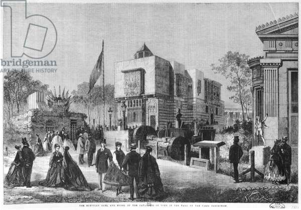 The Egyptian Architecture and a model of the Catacombs of Rome at the Universal Exhibition at the Champ-de-Mars in Paris, 1867 (engraving)