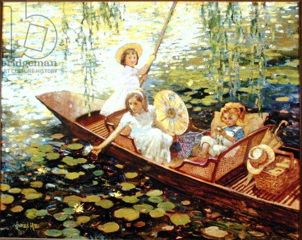 Sisters boating (oil on canvas)