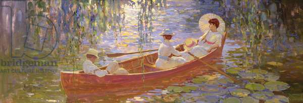 Boating on the Marsh (oil on canvas)