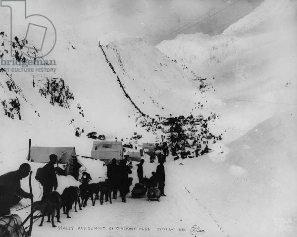 Scales and summit of Chilkoot Pass, from 'One Man's Gold Rush: A Klondike Album' by Murray Cromwell Morgan, 1898 (b/w photo)