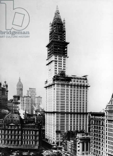 The Woolworth Building Under Construction, New York City, 1912 (b/w photo)