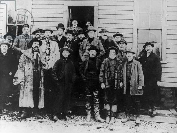 Men from the Alaskan gold rush, from 'One Man's Gold Rush: A Klondike Album' by Murray Cromwell Morgan (b/w photo)