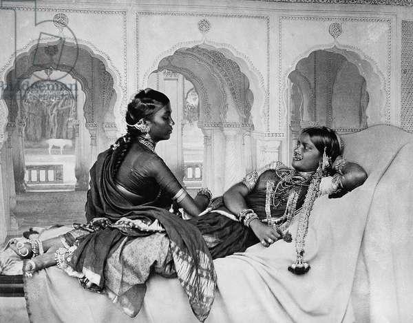 Nautch girls (dancing girls), 1890s (b/w photo)