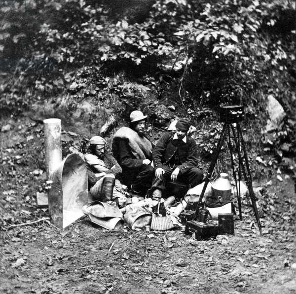Photographers and their equipment on an expedition to photograph the interior of Mammoth Cave, from the series 'Magnesium Light Views in Mammoth Cave', 1866 (b/w photo)