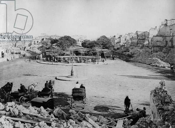 Mansheyya Square after the Bombardment of Alexandria, 1882 (b/w photo)