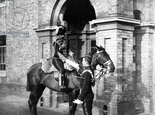Officer of the 3rd Hussars, c.1890s (b/w photo)