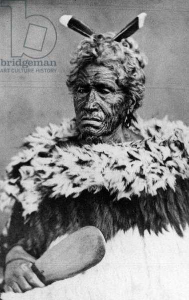 Portrait of a Maori man, before 1880 (b/w photo)