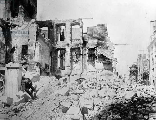 Destruction caused by Prussian forces during the Siege of Paris, 1870 (b/w photo)