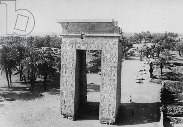 The Propylon of Ptolemy and the Avenue of Sphinxes (b/w photo)