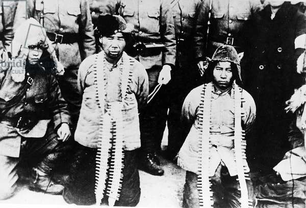 Captured Chinese Soldiers in Manchuria, 1931 (b/w photo)
