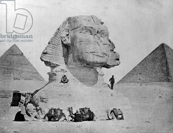 Self Portrait with the Sphinx at Giza, late 1870s (b/w photo)