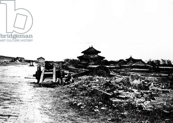 Top of the Wall of Peking, 1860 (b/w photo)
