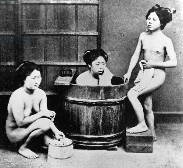 Japanese Bathing, c.1860-80 (b/w photo)
