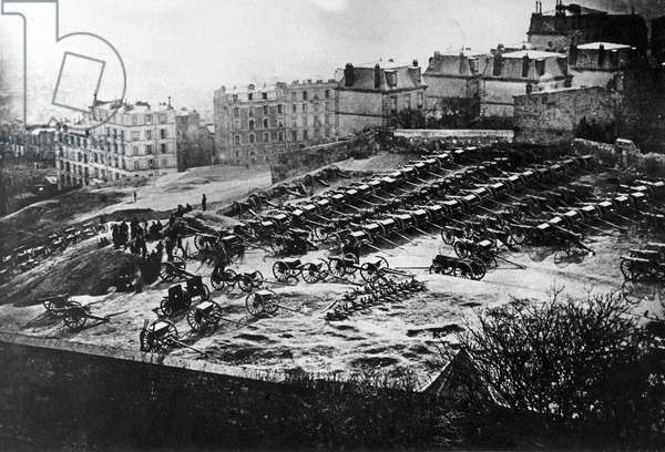 Cannon Park on Montmartre, 1871 (b/w photo)