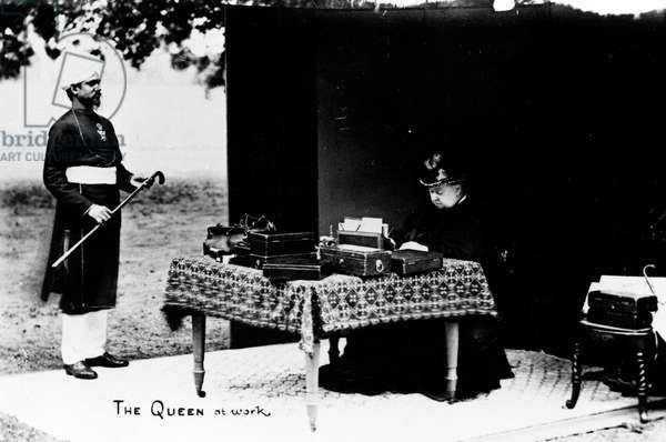 The Queen at Work, c.1893 (b/w photo)