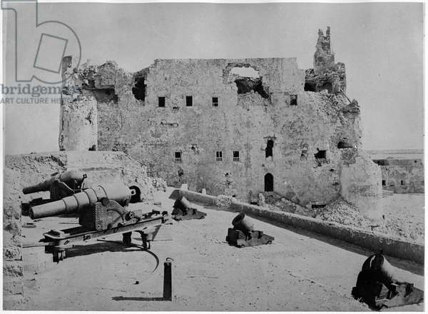 The Fortress of Qaitbey after the Bombardment of Alexandria, 1882 (b/w photo)