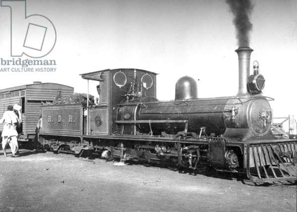 Locomotive on the Raipur Dhamtari and Rajim branch, India, c.1907 (b/w photo)