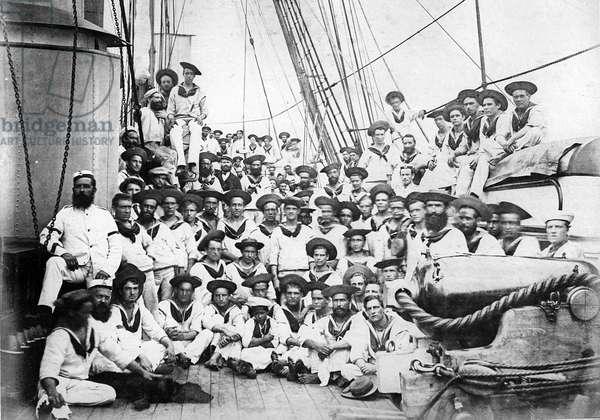 Company on board HMS Eclipse, c.1888 (b/w photo)