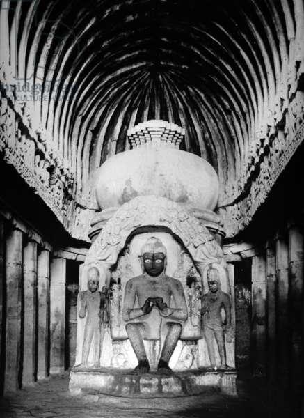 Interior of the Vishvakarma Cave, Ellora, c.1907 (b/w photo)