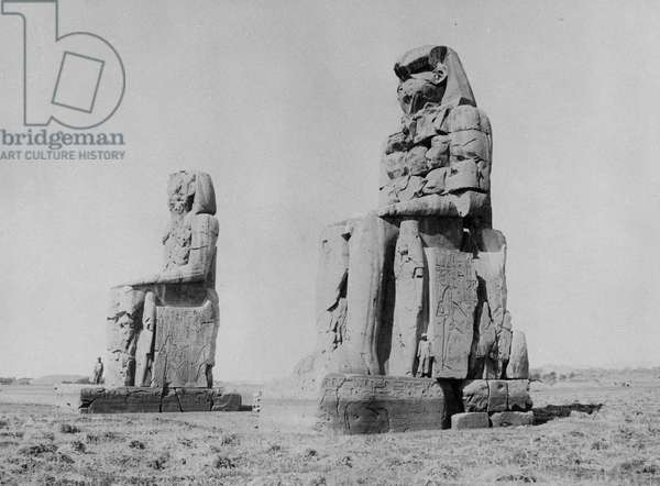 The Colossi of Amenophis III and the Colossus of Memnon (b/w photo)