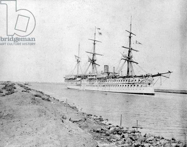 Troopship 'Crocodile' passing through the Suez Canal, c. 1870s (b/w photo)