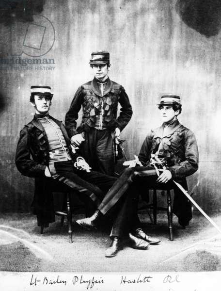 Lieutenants Bailey, Playfair and Haslitt, c.1860 (b/w photo)